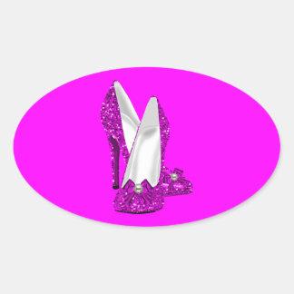 Rosa del brillo de Stileto de los zapatos del Pegatina Ovalada