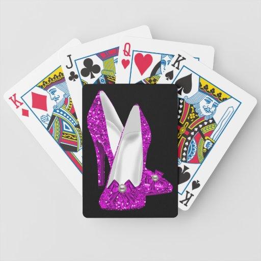 Rosa del brillo de Stileto de los zapatos del tacó Baraja Cartas De Poker