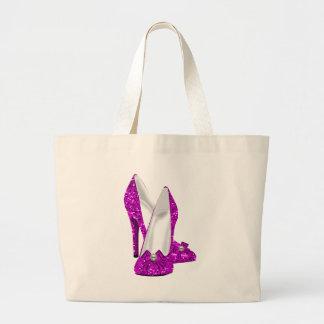 Rosa del brillo de Stileto de los zapatos del tacó Bolsa Tela Grande