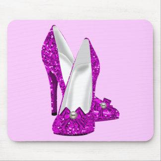 Rosa del brillo de Stileto de los zapatos del tacó Mousepad