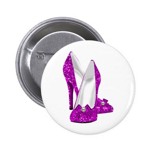Rosa del brillo de Stileto de los zapatos del tacó Pin