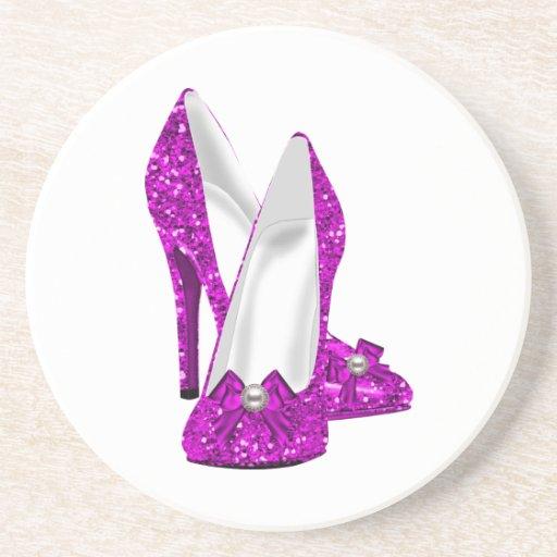 Rosa del brillo de Stileto de los zapatos del tacó Posavasos Diseño