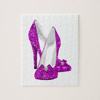 Rosa del brillo de Stileto de los zapatos del tacó Puzzle