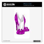 Rosa del brillo de Stileto de los zapatos del tacó Calcomanías Para iPhone 4