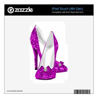 Rosa del brillo de Stileto de los zapatos del tacó Skins Para iPod Touch 4G