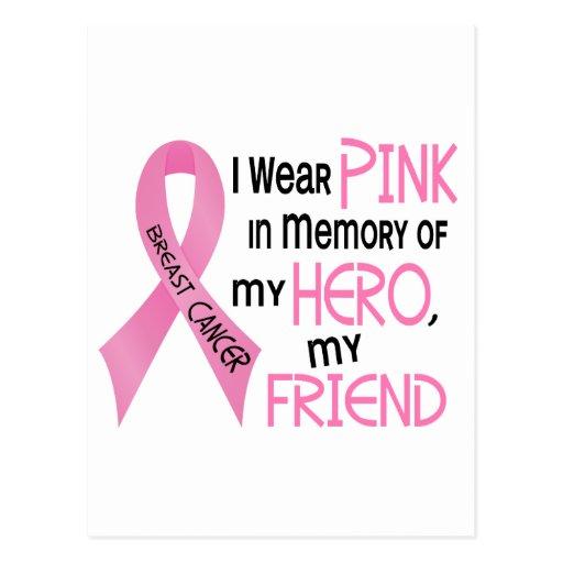 ROSA del cáncer de pecho EN MEMORIA de MI AMIGO 1 Tarjetas Postales
