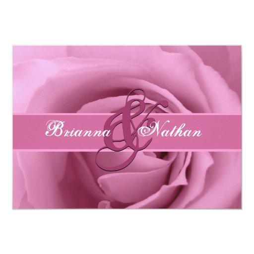 Rosa del caramelo de algodón subió y boda de la invitación 12,7 x 17,8 cm