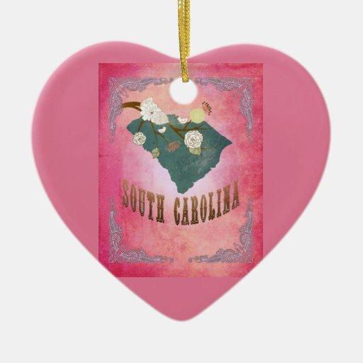 Rosa del caramelo del mapa del estado de Carolina Adorno Navideño De Cerámica En Forma De Corazón