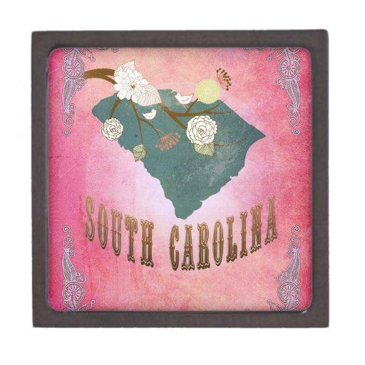 Rosa del caramelo del mapa del estado de Carolina  Cajas De Joyas De Calidad