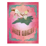 Rosa del caramelo del mapa del estado de Carolina  Tarjetas Postales