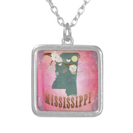Rosa del caramelo del mapa del estado de Mississip Colgante Cuadrado