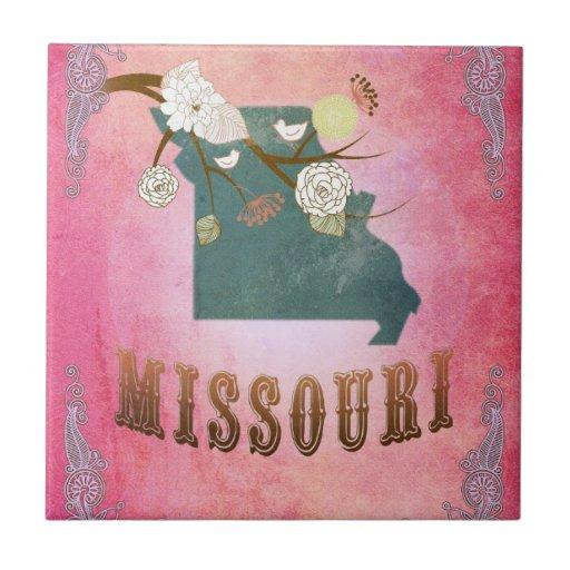 Rosa del caramelo del mapa del estado de Missouri  Azulejos Ceramicos