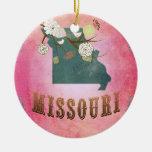 Rosa del caramelo del mapa del estado de Missouri Adorno Redondo De Cerámica