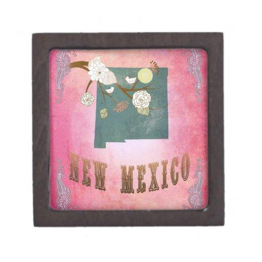 Rosa del caramelo del mapa del estado de New Méxic Caja De Joyas De Calidad