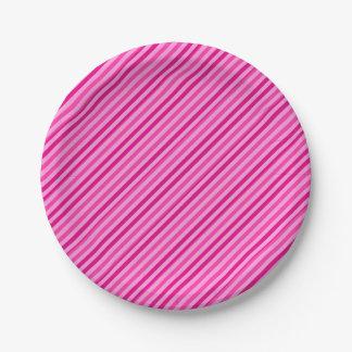 Rosa del caramelo rayado platos de papel