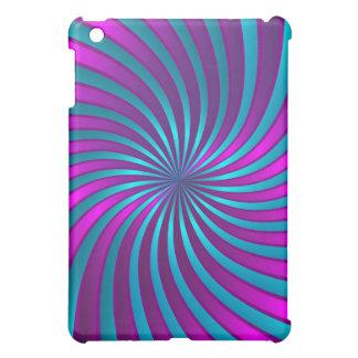 rosa del caso del iPad y vórtice espiral azul