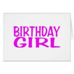 Rosa del chica del cumpleaños felicitación