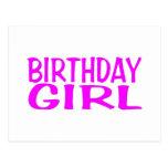 Rosa del chica del cumpleaños postales