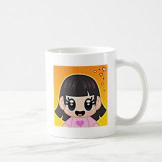 rosa del chica del yourri taza de café