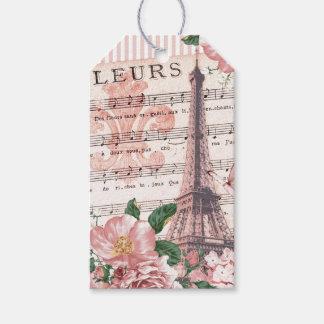 Rosa del collage de la torre Eiffel de Fleur del Etiquetas Para Regalos