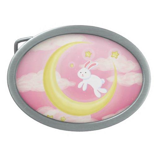 Rosa del conejito de la luna hebillas cinturon