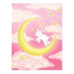 Rosa del conejito de la luna postal
