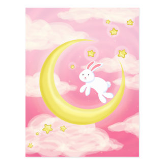 Rosa del conejito de la luna tarjeta postal