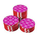Rosa del copo de nieve 17 juego de fichas de póquer