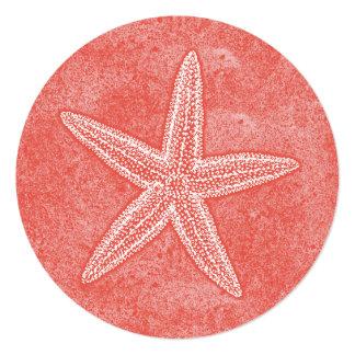 """Rosa del coral de las estrellas de mar invitación 5.25"""" x 5.25"""""""
