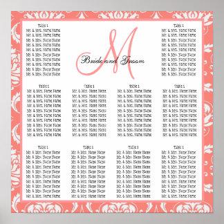 Rosa del coral del damasco de la carta del asiento posters