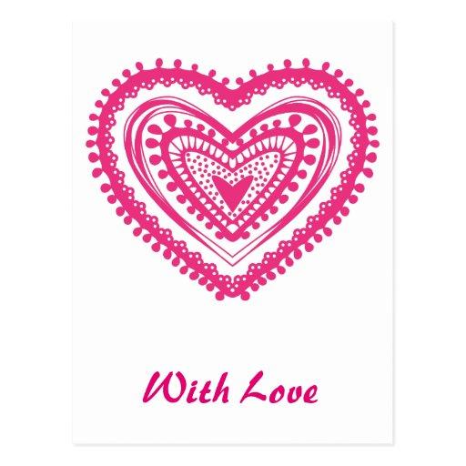 Rosa del corazón 5 del Doodle Tarjeta Postal