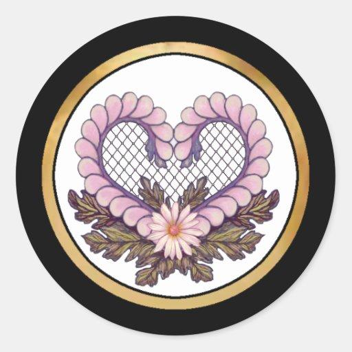 Rosa del corazón de la malla del pétalo etiquetas redondas