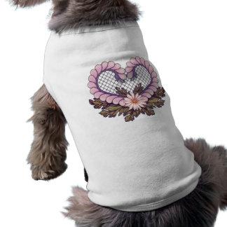 Rosa del corazón de la malla del pétalo camiseta de mascota