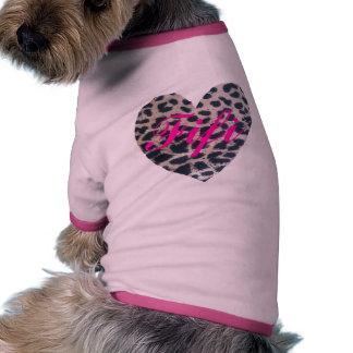 Rosa del corazón del leopardo camisetas de perro