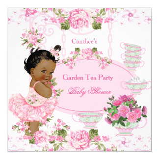 """Rosa del cordón de la fiesta del té del jardín de invitación 5.25"""" x 5.25"""""""