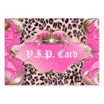 Rosa del cordón del leopardo de la tarjeta del clu plantilla de tarjeta de negocio