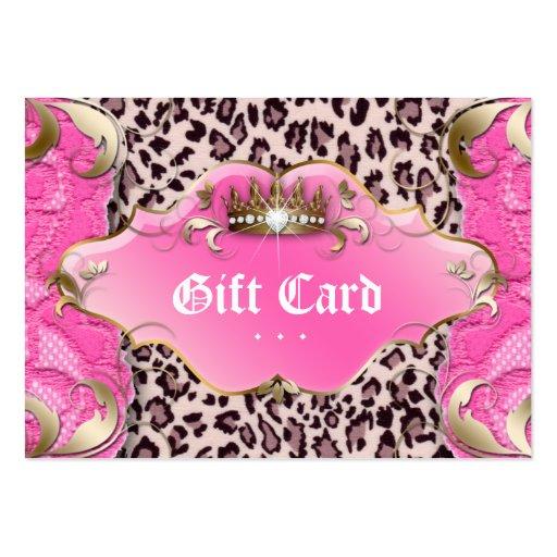 Rosa del cordón del leopardo del vale de la tarjetas de visita grandes