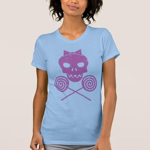 Rosa del cráneo del chica camiseta