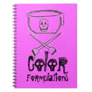 Rosa del cuaderno del estilista del color del pelo