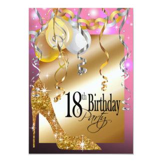 """Rosa del cumpleaños de los globos del estilete del invitación 5"""" x 7"""""""