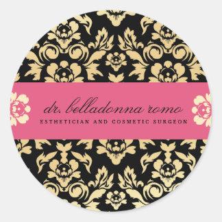 rosa del damasco 311-Belladonna Etiqueta Redonda