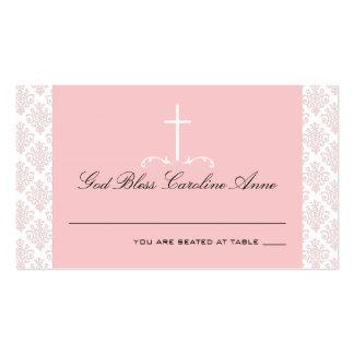 Rosa del damasco con la tarjeta cruzada del asient tarjetas de negocios