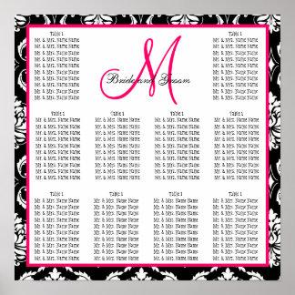 Rosa del damasco de la carta del asiento del boda poster