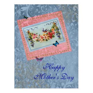 Rosa del día de madre del vintage floral con el Bl Tarjeta Postal