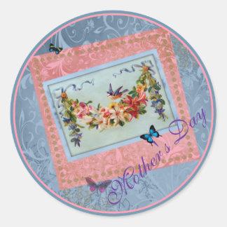 Rosa del día de madre del vintage floral con el pegatina redonda