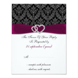 rosa del diamante del damasco que casa RSVP Invitacion Personalizada