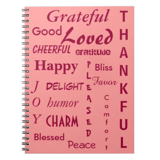 Rosa del diario de la gratitud libros de apuntes con espiral