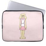 Rosa del dibujo animado, el llevar del conejo de c mangas portátiles