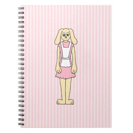 Rosa del dibujo animado, el llevar del conejo de c libretas