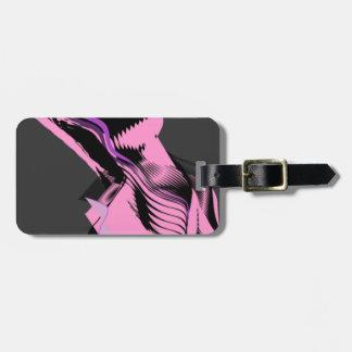 rosa del diseño con gris oscuro etiquetas para equipaje